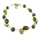 Bracelet copper green beads iridescent metallic nickel free jewellery adjustable Women
