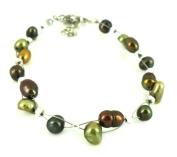 Bracelet copper green beads iridescent metallic nickel free jewellery adjustable Women