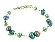 Bracelet purple beads green iridescent metallic nickel free jewellery adjustable Women
