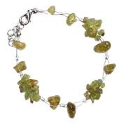Stone Chip Bracelet Bunch green transparent nickel-free metal fastener 19cm-22cm