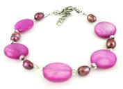Purple pearl bracelet pearl discs Ladies lobster clasp nickel free 18cm 20cm