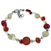 Glitter Perlmuttarmband red white pink pearl discs around 18cm 20cm carabiner nickel free