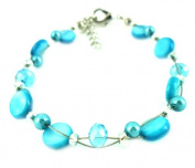 Glitter light blue beads pearl bracelet discs around 18cm 20cm carabiner nickel free