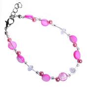 Glitter pink pearl bracelet pearl discs around 18cm 20cm carabiner nickel free