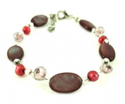 Glitter pearl bracelet dark purple red oval pearl discs carabiner nickel free 18cm 20cm