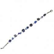 Bracelet blue pearl beads Splitter Women 18-20 cm adjustable nickel free carabiner