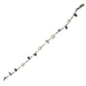 Stone Splitter pearl white purple bracelet Ladies lobster clasp 18cm nickel free