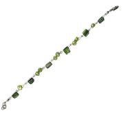 Bracelet green pearl beads Splitter Women 18-20 cm adjustable nickel free carabiner