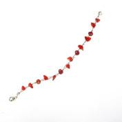 Splitter pearl coral red bracelet Ladies lobster clasp 19cm-22cm nickel free