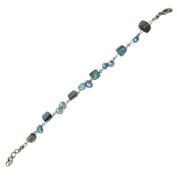 Bracelet light blue turquoise pearl beads Splitter Women 18-20 cm adjustable nickel free carabiner