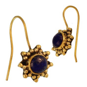 Earrings star shape small balls Purple Lapis Lazuli round golden polished brass antique