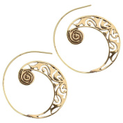 Spirals earrings antique golden brass with wide stamped Tribal Pattern Spiral