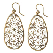 Earrings Oval Earrings punched floral ornaments pattern of antique golden Brass