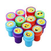 Lanlan 12pcs Plastic Stamps Different Emoji Patterns Print Craft Art Ink Set Kindergarten Teacher Prizes Props Children's Day Christmas New Year Birthday Toy Gift Party Favour Set No Need Inkpad