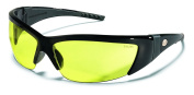 Crews FF214 ForceFlex 2 Safety Glasses with Black Frame and Amber Lens, 1 Pair