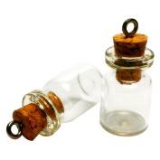 LEFV™ Mini Cork Top Glass Bottle Vial Charm Kit 1.9cm - 50pcs 0.5ml Clear Bottles with Corks & 50pcs Eye Screws - Miniature Empty Sample Jars Message Bottle Small Tiny Size