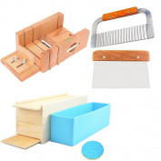 6MILES 2 Pcs Stainless Steel Straight Wavy DIY Making Loaf Garnish Cake Soap Cutter + 1 Pcs Newest Wood Box with Line Wire Tool Peelers Slicers Knife Set +1 Pcs Newest Rose Silicone Mould with Box