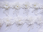 YYCRAFT Pack Of 5y Flower Chiffon Lace Edge Trim-White