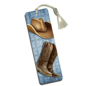 Cowboy Hat and Boots Printed Bookmark with Tassel