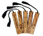 Set of 5 - Musical Instruments - Wooden Bookmarks with Black Rope Tassel