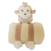 Ultra Soft Baby 24cm Stuffed Toys & 100cm by 80cm Coral Fleece Blanket Set for Baby Bedding or Bathing Use
