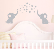 MAFENT Two lovely Elephants Blowing Bubbles face to face Wall Decal Vinyl Wall Sticker for Baby Nursery Wall Decor Finish size:130cm x 60cm