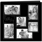 "Pioneer 30cm by 30cm Collage Frame Embossed ""Family"" Sewn Leatherette Cover Memory Book, Black"