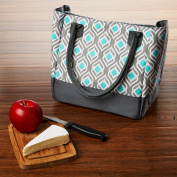 Fit and Fresh Vienna Insulated Lunch Bag with Reusable Ice Pack, Grey/Aqua Leaf