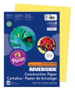 Pacon Riverside Construction Paper, 23cm by 30cm , 50-Count, Yellow