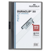 DURABLE Vinyl DuraClip Report Cover with Clip, Letter, Holds 30 Pages, Clear/Graphite