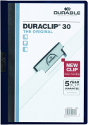 DURABLE Vinyl DuraClip Report Cover with Clip, Letter, Holds 30 Pages, Clear/Navy Blue