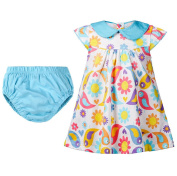 ACVIP Baby Toddler Girl Cotton Flower Printed Summer Casual Play Dress with Panties
