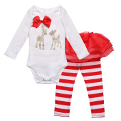 TiaoBug Infant Baby Girls Outfit Deer Romper with Striped Pants