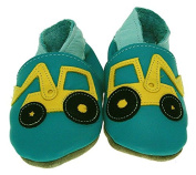 Inch Blue Girls Boys Luxury Leather Soft Sole Pram Shoes - Digger Turquoise