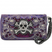 Justin West Rhinestone Skull Embroidery Floral Design Shoulder Chain Handbag and Wristlet Trifold Wallet Attachable Long Strap