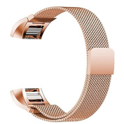 Fitbit Charge 2 Bands, IPELY Milanese Magnetic Loop Stainless Steel Replacement Accessory Metal Band Bracelet Strap for Fitbit Charge 2 , Rose Gold