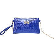 Women Fashion PU Leather Shoulder Bag Crocodile Grain Clutch Handbags,Blue