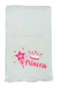 "Baby Girls White Shawl Blanket With Pink ""Princess"" Applique Embroidery"