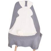Puseky Baby Kids Cute Rabbit Ear Soft Warm Knitting Blanket Sleeping Swaddle Wrap Quilt