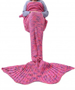 FEESHOW Mermaid Tail Blanket Handcrafted Crochet Knitted Warm Soft Living Room Quilt Mermaid Sleeping Bag for Big Girls Adult Pink & Orange Adults