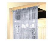2PCS Fashion Silver Ribbon Window Panel Room Divider Strip Tassel Scarf Valance Door Window Room Decorative String Curtain