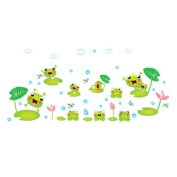 Winhappyhome Frog Pond Wall Stickers for Bedroom Living Room Coffee Shop Background Removable Art Decor Decals