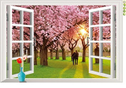 Raylinedo® Pink Window Removable Wall Stickers Window Sticker Art Decals Mural DIY Wallpaper for Room Decal
