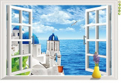 Raylinedo® Blue Window Removable Wall Stickers Window Sticker Art Decals Mural DIY Wallpaper for Room Decal