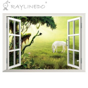 Raylinedo® Green Window Removable Wall Stickers Window Sticker Art Decals Mural DIY Wallpaper for Room Decal