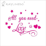 Raylinedo® All You Need Is Love Removable Wall Stickers Window Sticker Art Decals Mural DIY Wallpaper for Room Decal Rose Colour