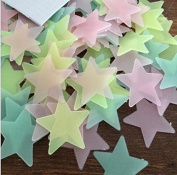JUN Pack of 100 Luminous Stars Glow in the Dark Fluorescent Noctilucent Plastic Wall Stickers Decals for Home Ceiling Wall Decorate Baby Kids Gift Nursery Room
