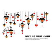 Winhappyhome Love Lights Art Pattern Wall Stickers for Bedroom Living Room Coffee Shop Background Removable Decor Decals