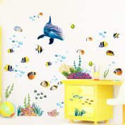 Winhappyhome Fishes Dolphin Children Height Measurement Chart Wall Art Stickers for Kids Room Nursery Background Removable Decor Decals