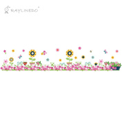 Raylinedo® Flower Baseboard Removable Wall Stickers Window Sticker Art Decals Mural DIY Wallpaper for Room Decal 130*25CM